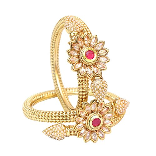 Beautiful Gold Plated Ruby Flower Bangle Bracelet Set Wedding Fashion / Gift Jewelry (2.8)