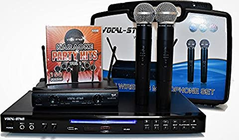 Vocal-Star VS-600 Karaoke Machine & Wireless microphones Set Including 150 Party Songs