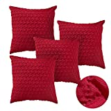 Deconovo Lot 4 Housses de Coussin Triangle pour Canapé Jardin Exterieur 40x40cm Rouge