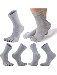 REKYO 5 Pares Hombres Toe Calcetines Cinco Dedos Calcetines De Algodón Suave Y Transpirable Bajo Corte Calcetines para Hombres (Gris Largo)