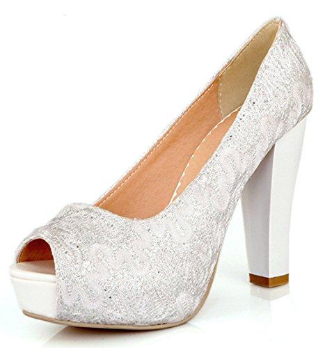 YE , Escarpins peep-toe femme Blanc - Blanc
