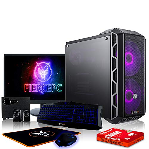 Fierce Slayer High-End RGB Gaming PC Bundeln: 4.6GHz 6-Core Intel Core i7 8700K, 2TB SSHD, 16GB, RTX 2070 8GB, Tastatur (QWERTZ), Maus, 24-Zoll-Monitor, Lautsprecher 1048637