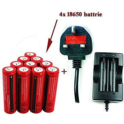 4X Constefire Rechargeable 18650 battery 3000mAh ;18650 Lithium Battery with special PCB for protecting overcharging and overload ,1pcs 18650 battery charger including.No match Electronic cigarettes. by RZJ
