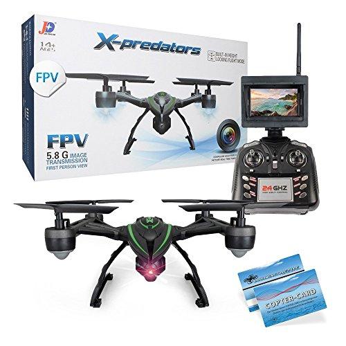 JXD 510G X-predators Quadrocopter Drohne 5,8Ghz FPV Monitor 2 MP Kamera Hold Funktion incl. Copter Card (Spielzeug Predator-drohne)