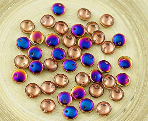 60pcs Crystal Sliperit, Lila, Blau, Gold, Hälfte-Linsen Tschechische Glas-Perlen, Flache Runde 6mm Loch