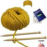 Kit Tricot principiantes para tejer un diadema de cabeza en gruesa lana del Perú–amarillo–Kit para tejer un diadema Cabello–Kit de punto con agujas de 15mm Ideal para un adulto principiantes.