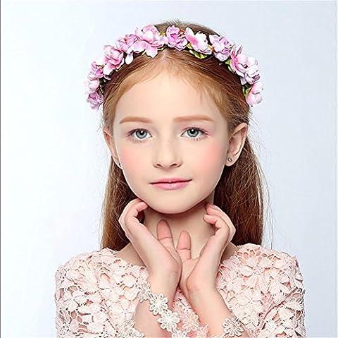 SMQY® Kränze Blume Halo Braut Blumen Krone Haar Band Kranz Kopf Kranz Hochzeit Kopfschmuck Brautjungfer , pink (Arabischen Tracht)