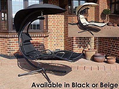Deluxe Garden Outdoor Helicopter Dream Chair Swing Hammock Sun Lounger Seat In Black Or Beige