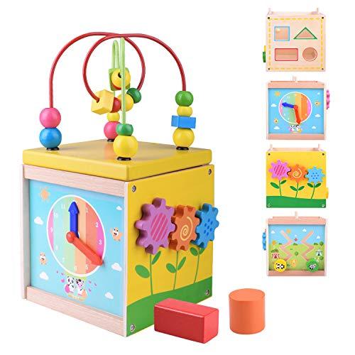 5 en 1 Actividad de Madera Cubo de Juguete Educativo Multifuncional Color de Forma de Laberinto de Cuentas para bebés y niños pequeños de 1 año KD801