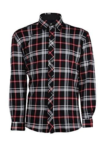 Camicia in pile da uomo a quadri nera e rossa, l