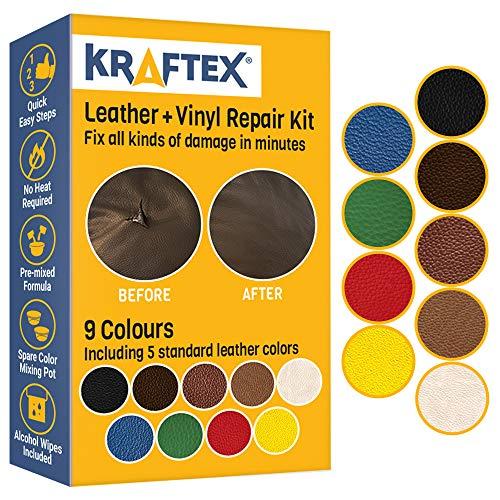 Leder- und Vinyl-Reparaturset. stellt Kratzer, Flecken und Risse auf allen farbigen Sofas, Autositzen, Schuhe, Handtaschen oder Armaturenbrettern wieder her. Farbkombinationen mit 5 Leder-Tönen