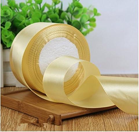 Breite 40 mm 25 Meter Satinband Hochzeit Handwerk nähen Dekorationen viele Farbe, Licht gold (Velvet Ballon-)
