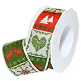 """Morex Ribbon 67140/20-035 Bergen French Wired Polyester Ribbon, 1 1/2"""" by 22 yd, Hunter/Red"""