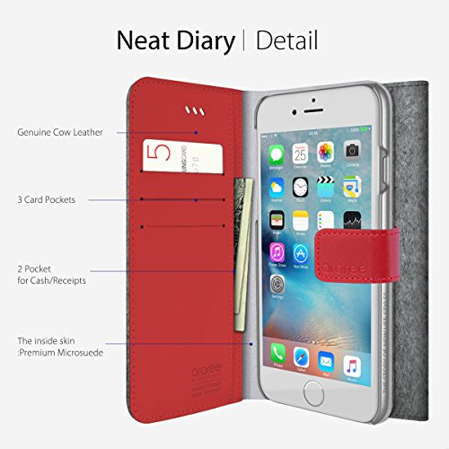 iPhone 6S Plus Fall, araree® [Neat Diary] Premium Stoff Echtleder Wallet Case Flip Cover Mit ID Halter für Apple (2015) CASHMERE SOD