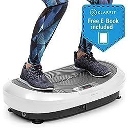 Klarfit Vibe 4DX • Tabla vibratoria • Placa de vibración • Pantalla LCD • Capacidad máx. 120 kg • Potencia 440 W • 10 Modos de Entrenamiento • Motor Triple 4DX • Cintas de Fitness • Blanco