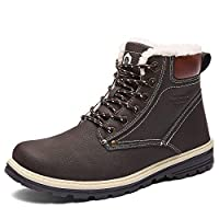 Winter Boots Men Snow Boots Waterproof Leather Warm Adults Faux Fur Ankle Boots Shoes Footwear with Fully Fur Lined Lining & Rubber Outsole for Outdoor Walking Hiking, Brown, Size 8 UK 42 EU