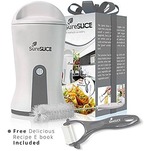 SureSlice Spiralizer - Cortador de verduras 3 en 1 (pelador de juliana, espiral de verduras y para hacer pasta) con hojas de corte japonés y acero inoxidable. Incluye 4 accesorios: pelador de cerámica, cepillo de limpieza, receta en formato E-book y manual de