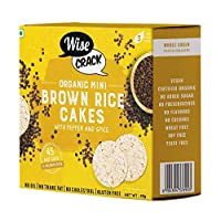 WiseCrack Organic Mini Brown Rice Cakes (Pepper & Spice) - Whole Grain Puffed Cracker, NO Oil, NO Added Sugar, Crispy Healthy Snacks. (45g X 4) - 45 Rice Cakes PER Box