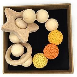 Coskiss Pulsera de bebé Teether de madera Amigurumi juguetes de dentición de bebé ecológicos Juguetes para bebés Chillón en forma de Rattle Regalo de Navidad (Color 5)