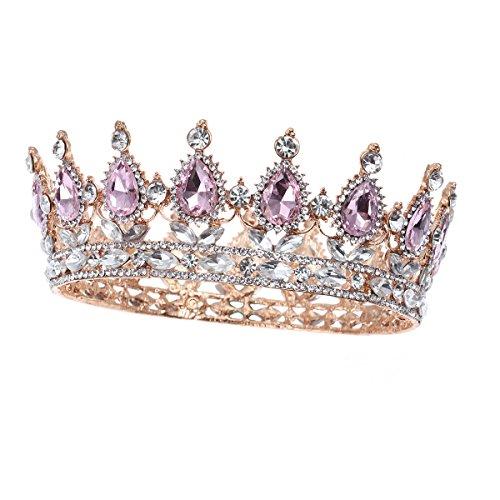 Frcolor Vintage Tiara Krone, Kristall Strass Festzug Königin Krone Tiara Haarschmuck (Tiara Königin)