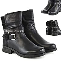 Womens Combat Biker Ankle Boots Ladies Low Heel Zip Stud Buckle Strap Booties