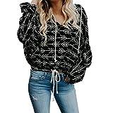 iYmitz Damen Lässig New Print Langarm Kapuzenpullover Hoodie Sweatshirt Tops Bluse(Schwarz,L)