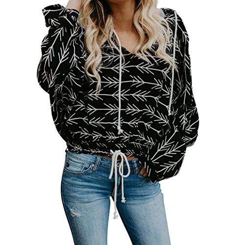 iYmitz Damen Lässig New Print Langarm Kapuzenpullover Hoodie Sweatshirt Tops Bluse(Schwarz,M)