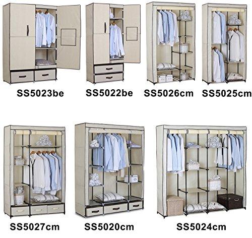 WOLTU SS5026cm-1 Stoffschrank Kleiderschrank Stoff , Garderobenschrank Faltschrank Stoffkleiderschrank , Crème Weiss , 100x46x174 cm