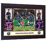 SGH SERVICES Neuf Poster Encadré Neymar Kylian Mbappe Photo dédicacée Pre-Print Poster Encadré Cadre en Panneau MDF Impression Photo