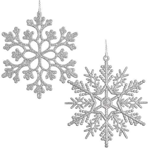 Yqing 30 pezzi fiocco di neve natale decorazioni, fiocco di neve decorazione per l'albero di natale (argento)