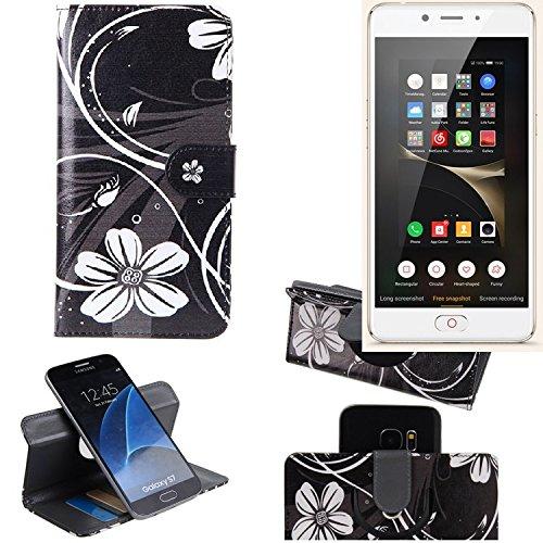 K-S-Trade® Schutzhülle Für Nubia N2 Hülle 360° Wallet Case Schutz Hülle ''Flowers'' Smartphone Flip Cover Flipstyle Tasche Handyhülle Schwarz-weiß 1x