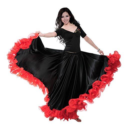 Dreamowl Damen Frau Spanisch Bauchtanz-Kleid Adult Rot Schwarz Flaco Tanz-Kostüm 720 grad - Spanischen Flamenco Tanz Kostüm