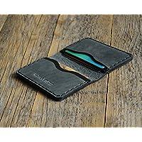 Noir et Gris Portefeuille en cuir pour Carte de crédit, argent comptant ou titulaire d'identification. Pochette unisexe style rustique.