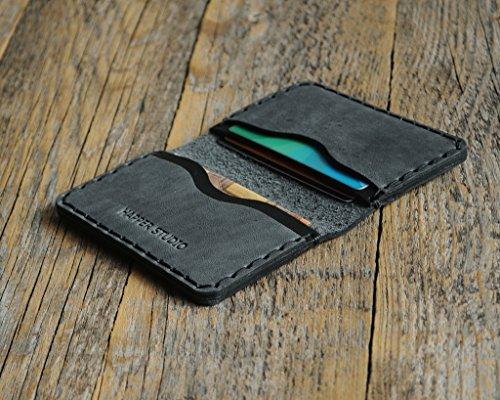 Noir et Gris Portefeuille en cuir pour Carte de crédit, argent comptant ou titulaire d'identification....