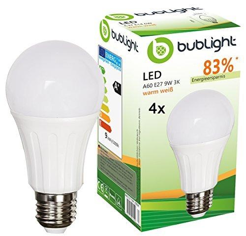 4x Bublight LED Lampen E27 9W, ersetzt 55W Glühbirnen, Energieklasse A+ (E-A ++), 3000 Kelvin warmweiß