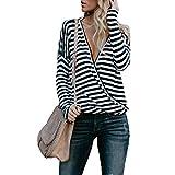Fancathy Damen V-Ausschnitt Langarm Gestreiften T-Shirt Tops Casual Frühling Herbst Bluse, Schwarz und Weiß, Gr. M