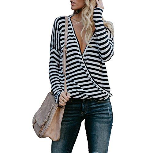 Fancathy Damen V-Ausschnitt Langarm Gestreiften T-Shirt Tops Casual Frühling Herbst Bluse, Schwarz und Weiß, Gr. M (Langarm-wickel-pullover)