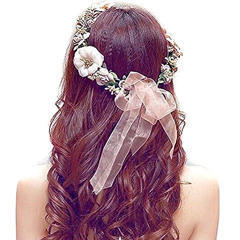 Ruban Pour Chapeau - Butterme bohème exquise synthétique mousse Fleur Rose