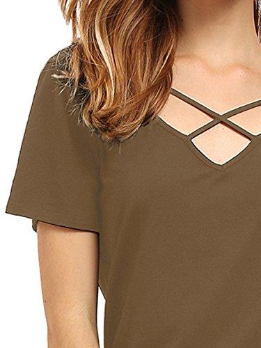 Match Damen Sommer Kurzarm T-Shirt V-Ausschnitt Tops 137 Kaffee