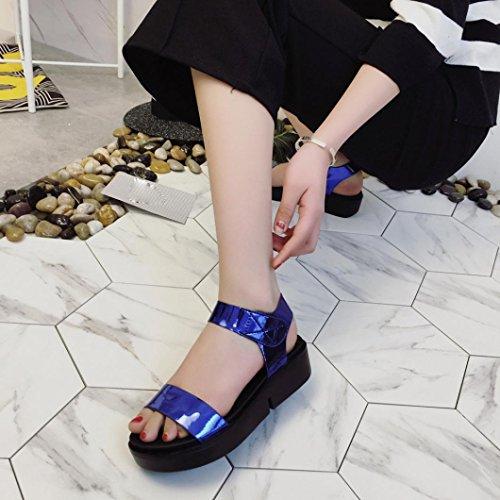 Transer ® Femmes été plate-forme Sequins Wedges Open Toe en cuir sandale Bleu