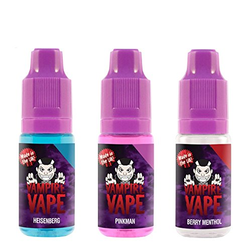 Vampire Vape E-Liquid 3x10ml - Heisenberg, Pinkman, Berry Menthol - Probierset für E-Zigaretten und E-Shishas - 0mg (ohne Nikotin) - Made in UK (Liquid)