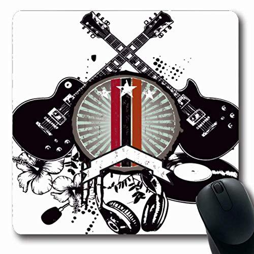 Luancrop Mousepad Ruhm Abzeichen Vintage Musik Schild Rock Konzert Sport Erholung Gitarre Graffiti Schablone Accords Mauspad rutschfeste Gummi für Notebook Laptop PC Computer -