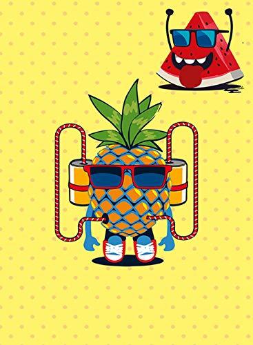 Bilder Auf Leinwand,Tragen Sonnenbrillen Obst Ananas Wassermelone Lustiges Gelb Cartoon Niedlich, Startseite Wand Kunst Dekoration Deco Malerei Wohnzimmer Schlafzimmer Restaurant Veranda Gehweg Essz