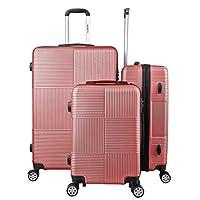 مجموعة حقائب السفر من ريتش اند فايموس، حقيبة بعجلات، حقائب امتعة، مجموعة حقائب بقياس 20 و24 و28 انش- مزودة بقفل الارقام للمسافرين الى الولايات المتحدة الأمريكية موديل RF-008، ازرق