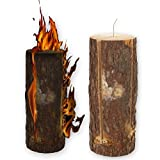 50cm Wooden Swedish Fire Log Candle Torch Garden Lantern Campfire Light BBQ