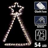 Bakaji Albero con Stella Luminosa Per Esterno Interno 54 Led Bianco Caldo Con Controller Giochi Di Luce Illuminazione Luci Natalizie Natale 60 X 89 Cm