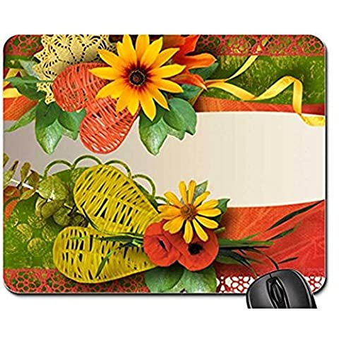 Autumn Fall Grandeur Non-Slip Rubber Gaming Mouse Pad Size 9 Inch(220mm) X 7 Inch(180mm) X 1/8(3mm) (Flowers Mouse