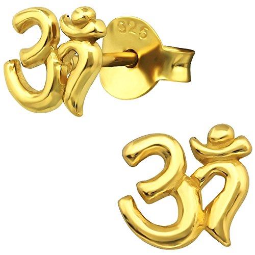 EYS JEWELRY Damen Ohrstecker OM Symbol 925 Sterling Silber vergoldet 6 x 6 mm im Schmucketui Ohrringe