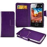 (Purple) Samsung Rex 80 S5222R Super dünne Kunstleder Saugnapf Wallet Case Hülle mit Credit / Debit Card SlotsBy Spyrox