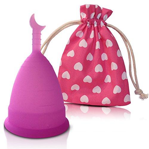 Premium Menstruationstasse CozyCup SUNNY - Menstruations-Cup aus medizinischem Silikon (groß, lila)